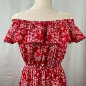 Vintage 90s Bandana Dress M Red Off the Shoulder